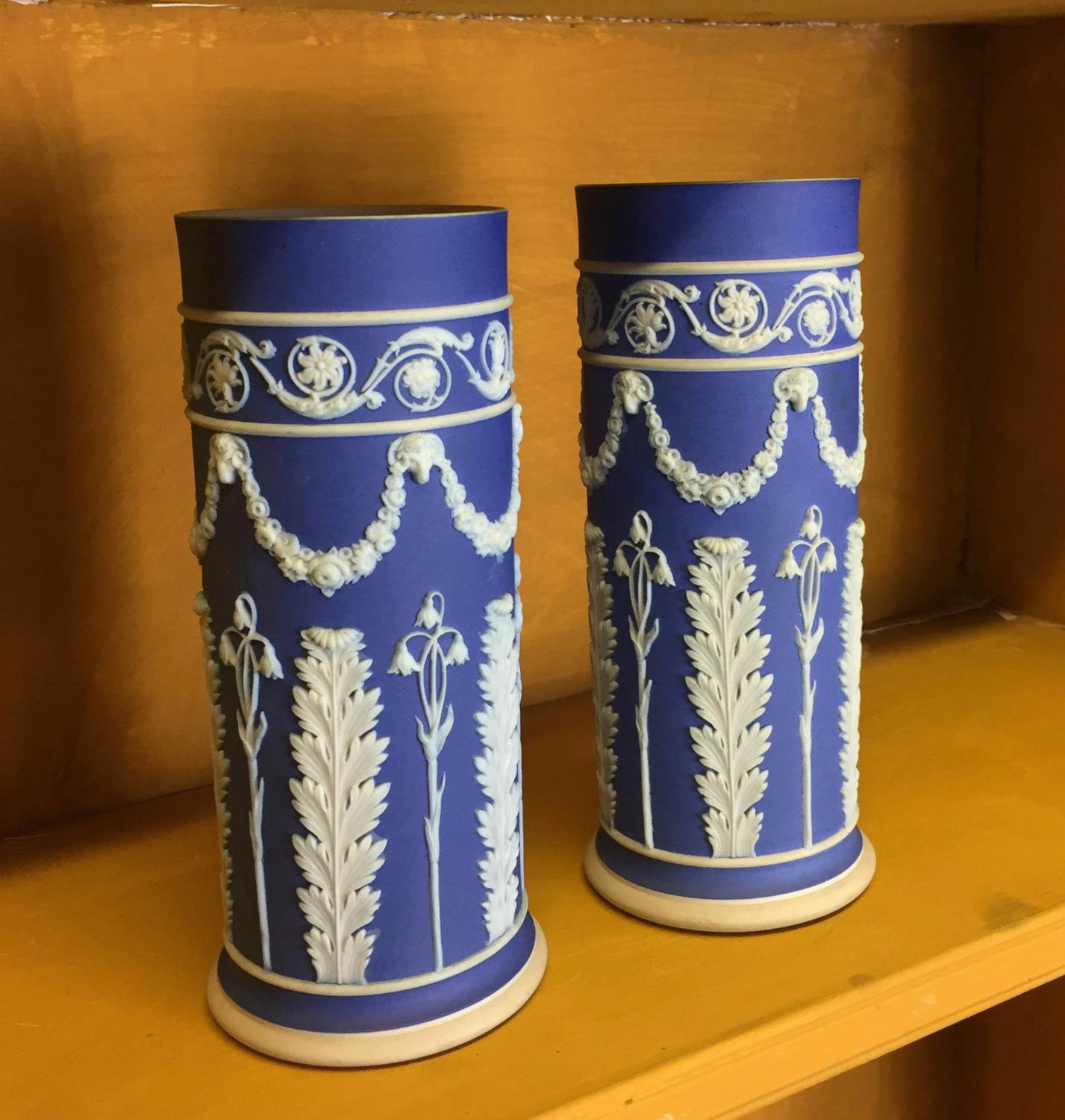 Pair of Wedgwood Blue Jasper Spill Vases c. 1905