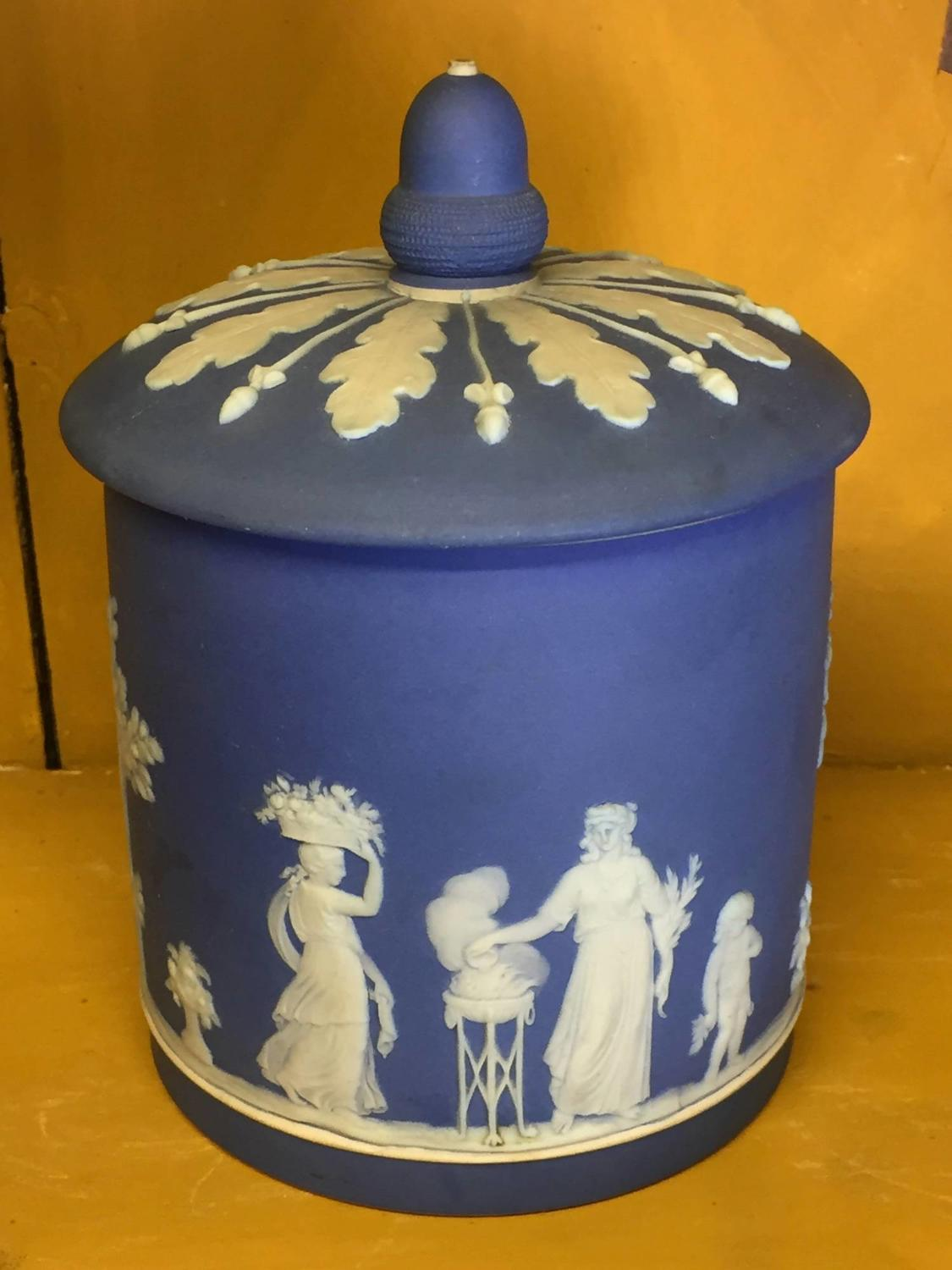 Wedgwood Blue Jasper Dip Jar & Cover
