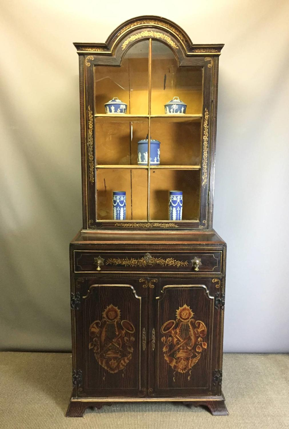 Decorative Faux Rosewood & Gilt Painted Cabinet