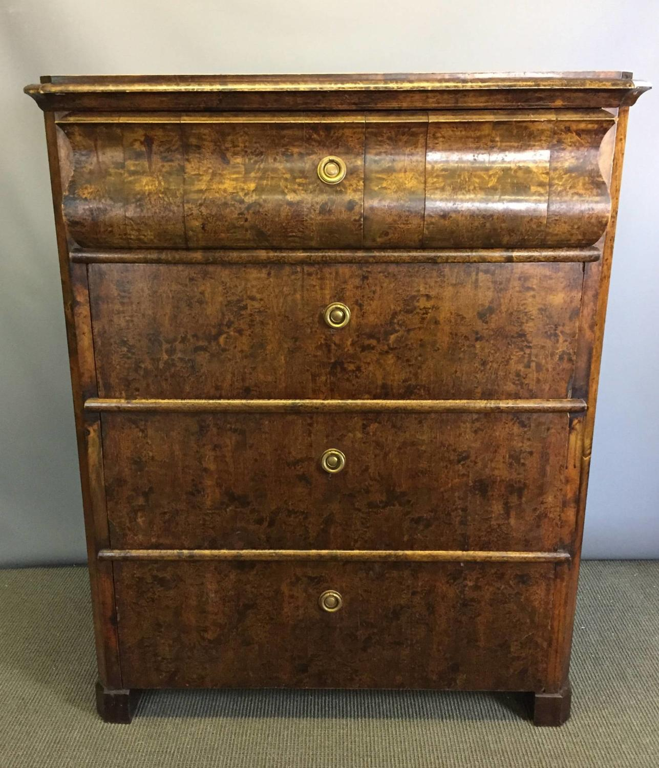 Swedish Walnut & Faux Bois Tall Chest of Drawers