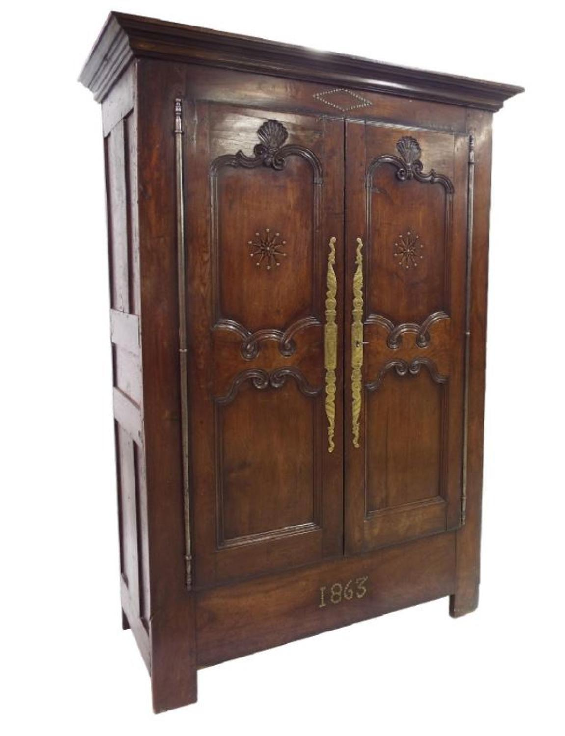 French Inlaid Oak & Fruitwood Armoire