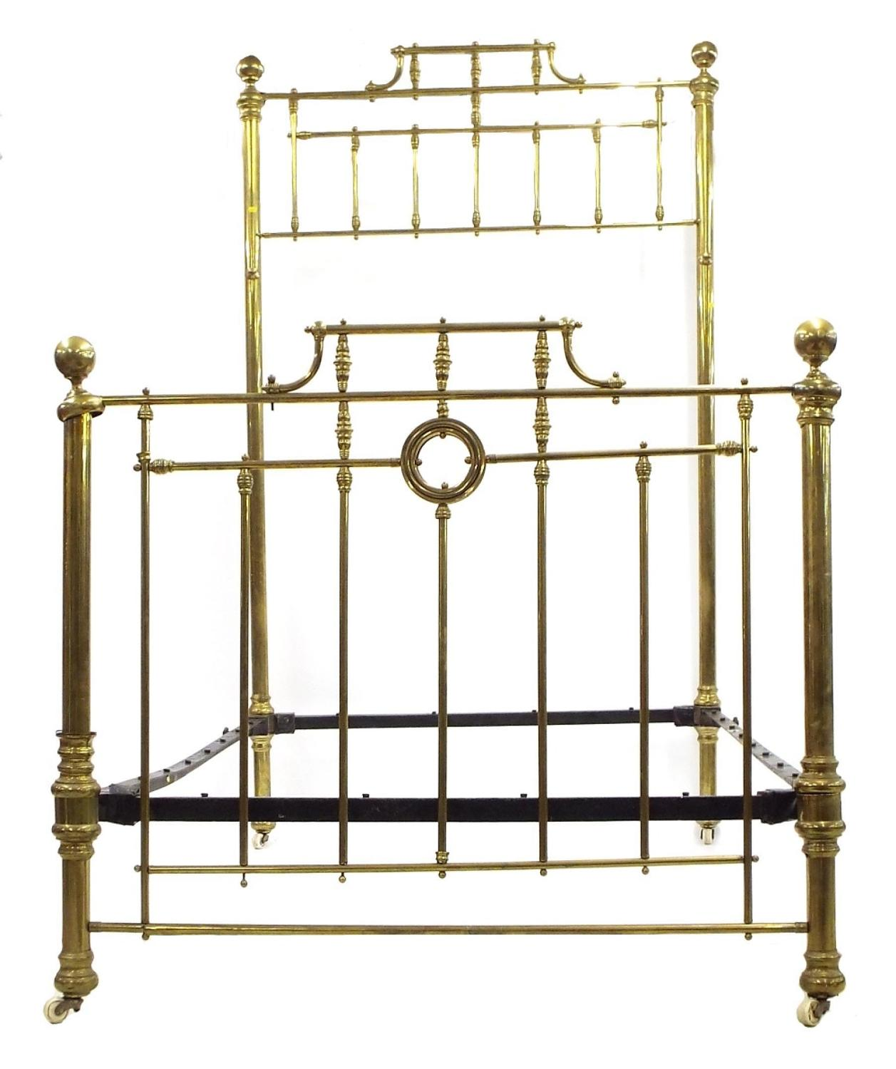 Impressive Victorian Brass Half Tester Double Bed