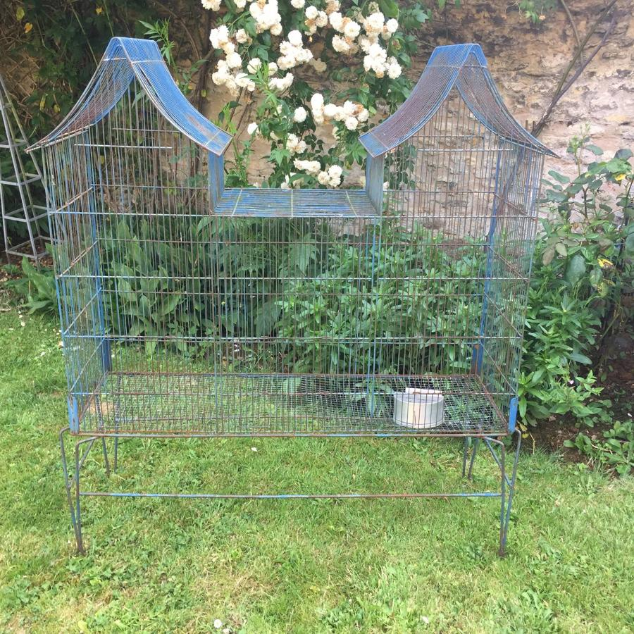 Vintage French Blue Wirework Pagoda Top Birdcage