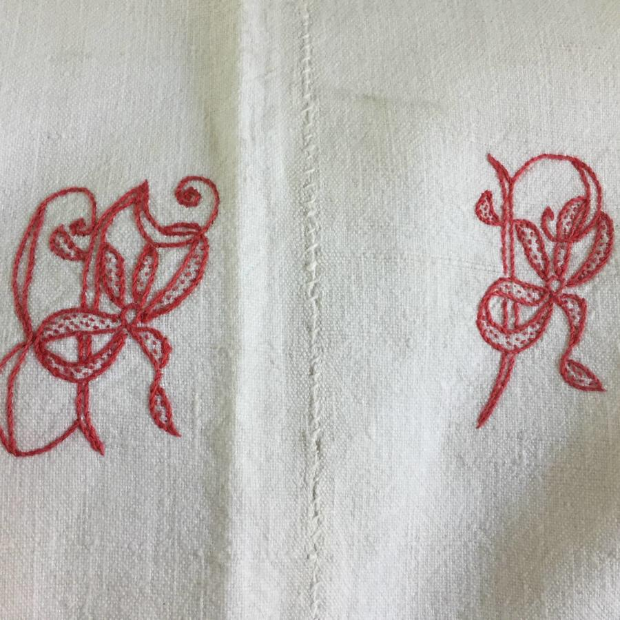 Antique French Monogrammed Metis Linen Dowry Sheet