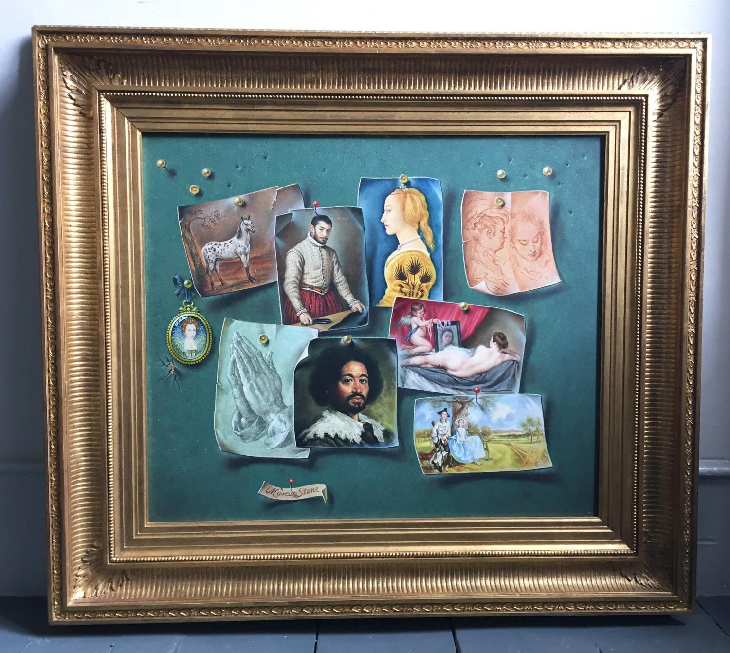 Marcus Stone Trompe L'Oeil Painting of Old Masters  on a Pin Board