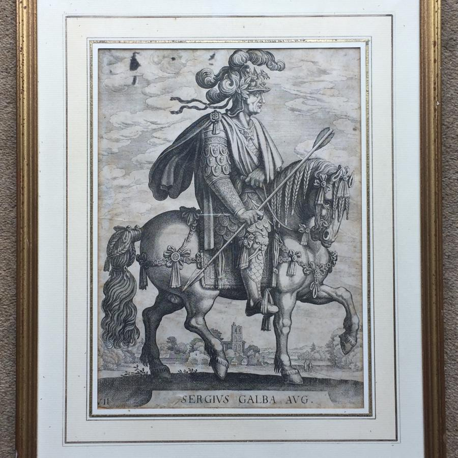 Old Master Etching of Emperor Galba after Antonio Tempesta