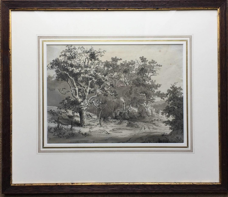 Joseph Barber, Rural Landscape with Cottage, Pen & Ink Drawing