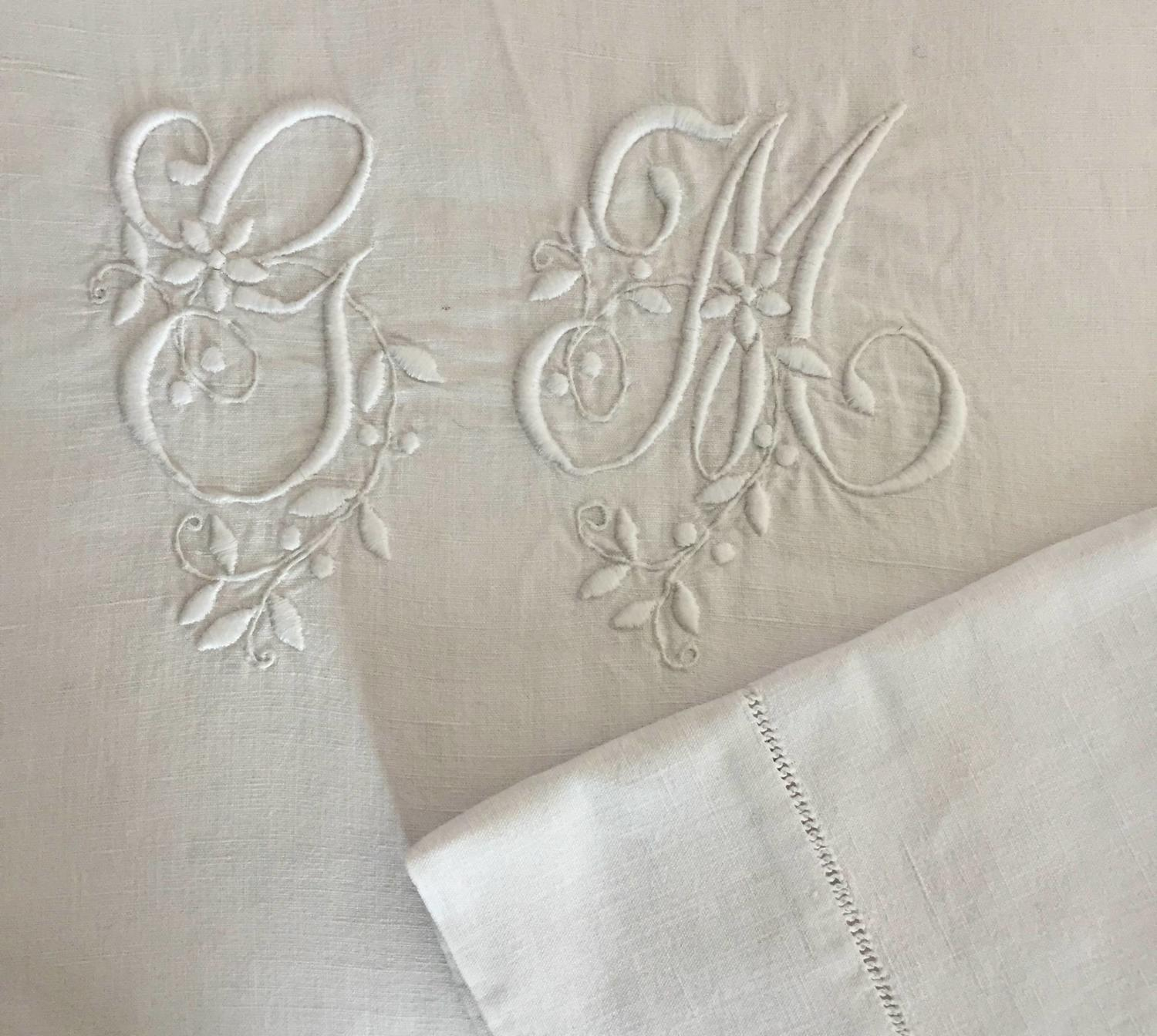 Antique French Monogrammed Linen Dowry Sheet