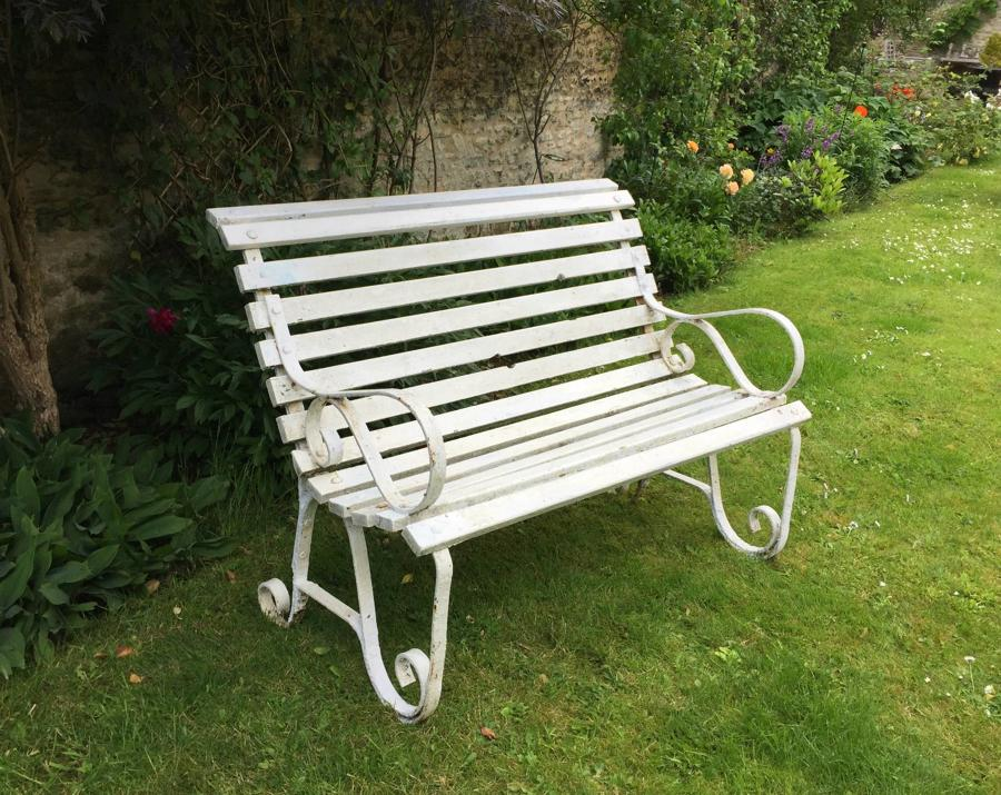Small Edwardian Wrought Iron & Wood Garden Bench