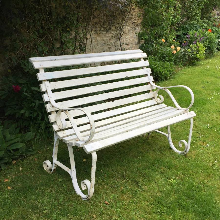Small Edwardian Wrought Iron & Wood Garden Bench