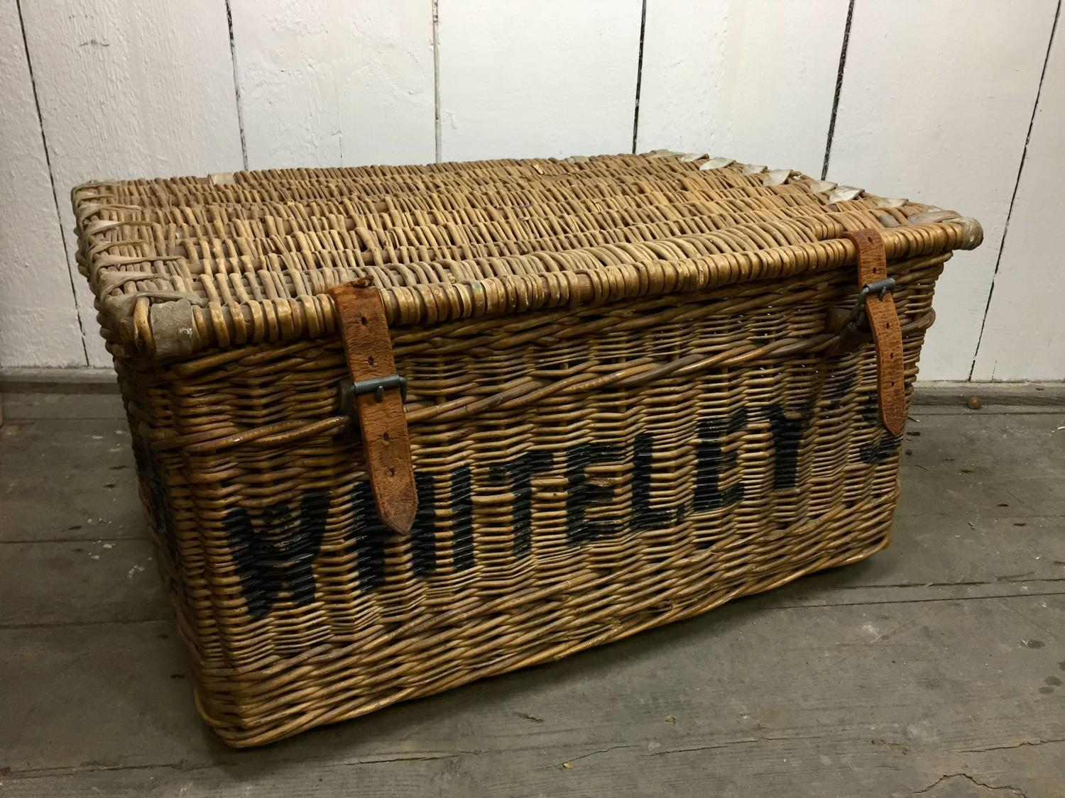 Vintage WHITELEY'S Wicker Laundry Basket
