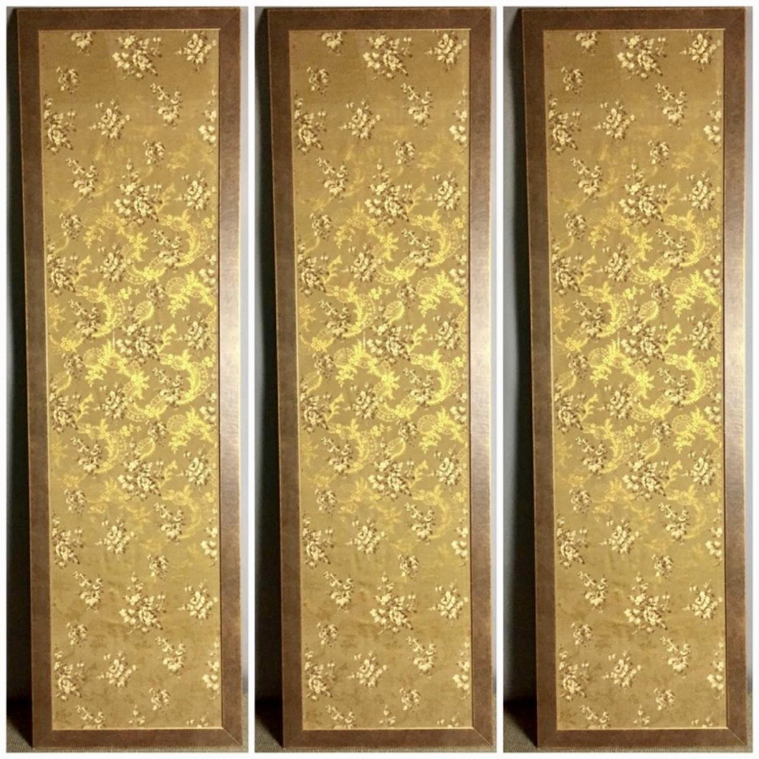Three Large Framed Panels of Antique French Wallpaper