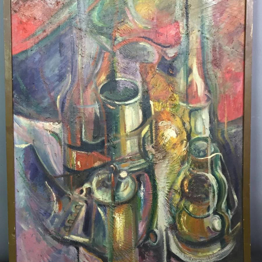 D J McCann 1960's Still Life Oil on Canvas