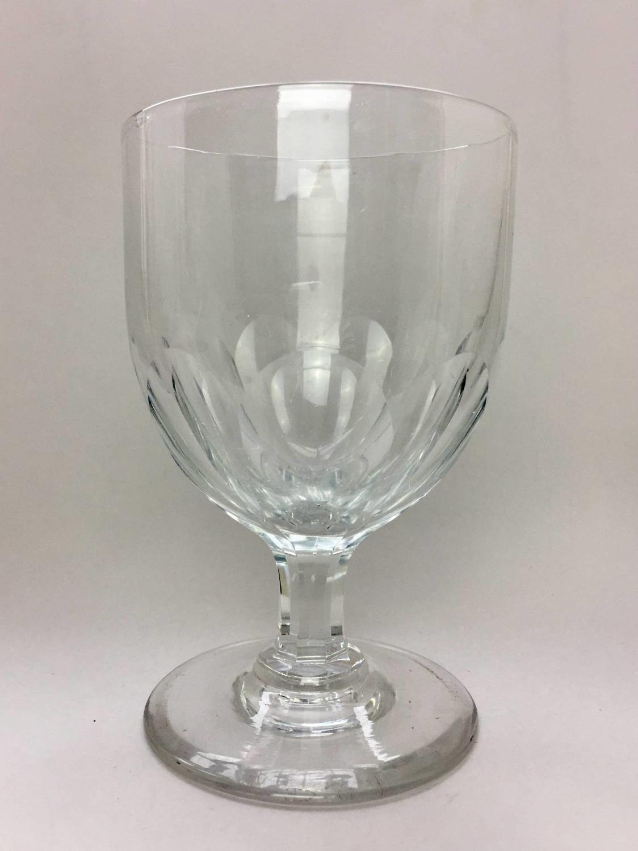 Large Antique Panel Cut Rummer / Wine Glass