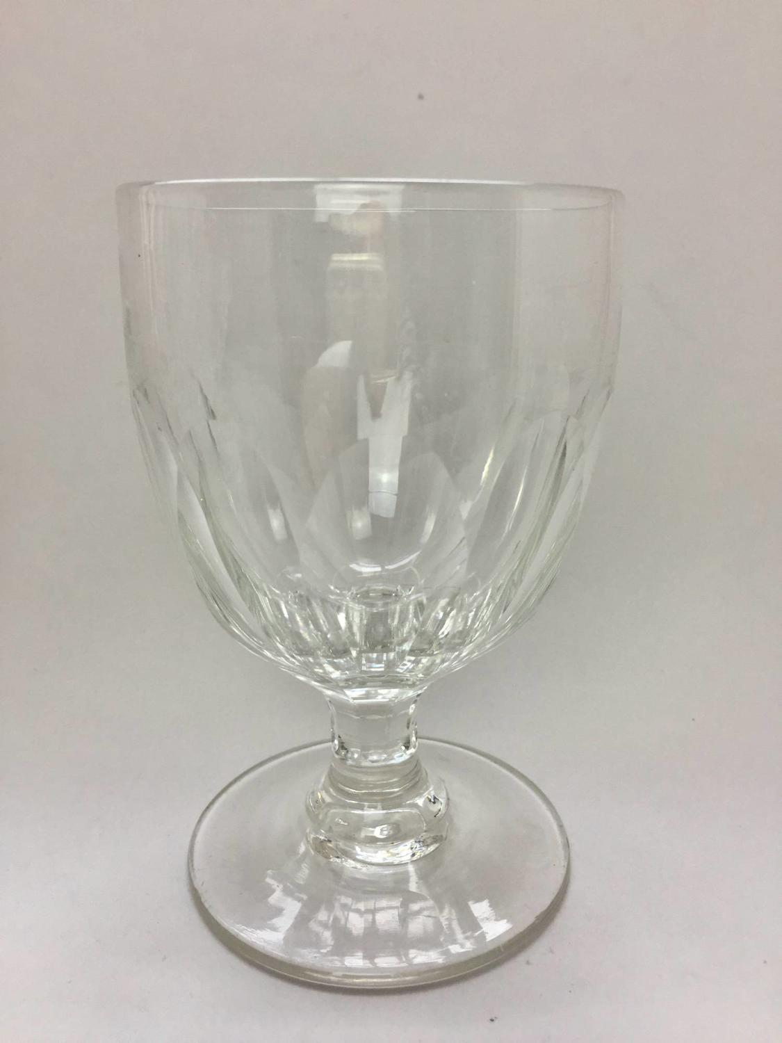 19th Century Panel Cut Rummer / Wine Glass