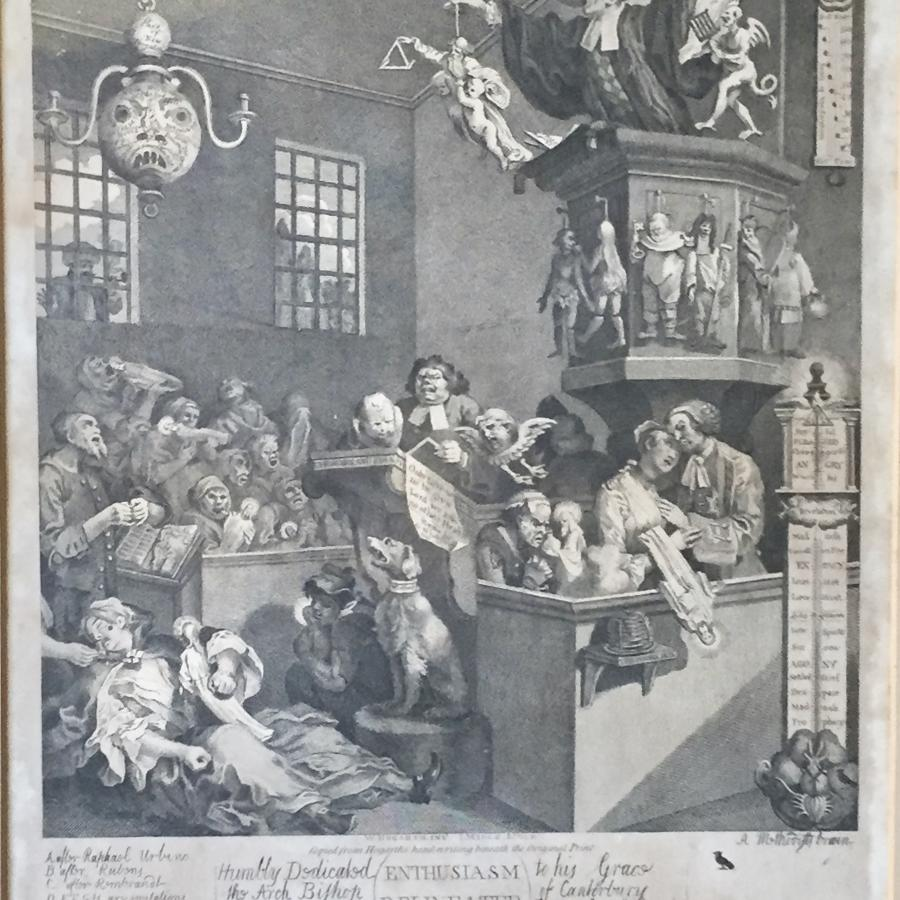 After William Hogarth 'Enthusiasm Delineated' Engraving 1795