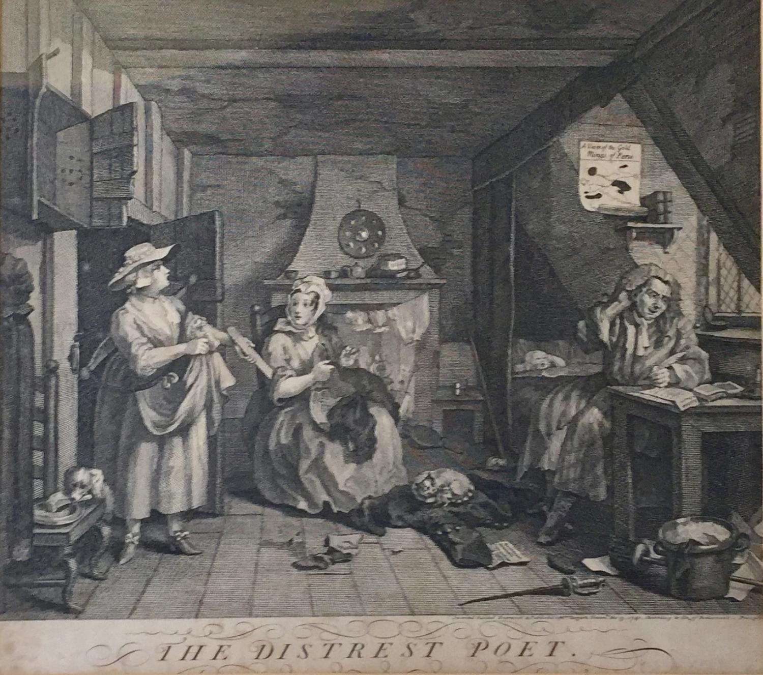 William Hogarth, The Distrest Poet, Engraving 1740