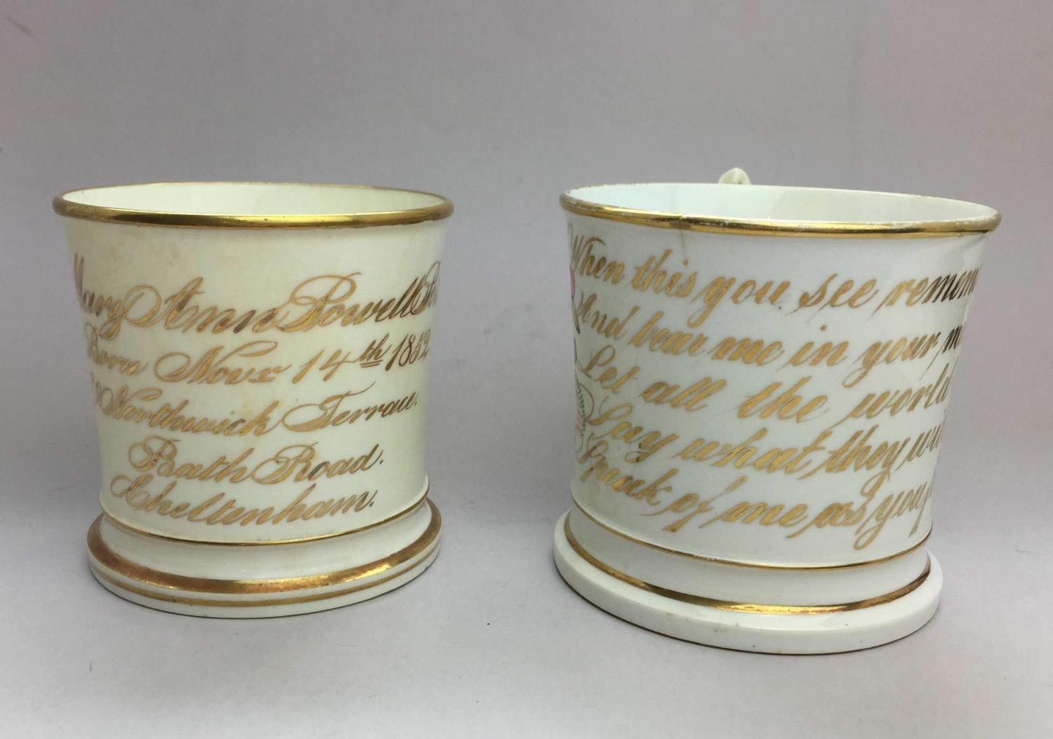 Victorian Staffordshire Porcelain Christening & Friendship Mugs