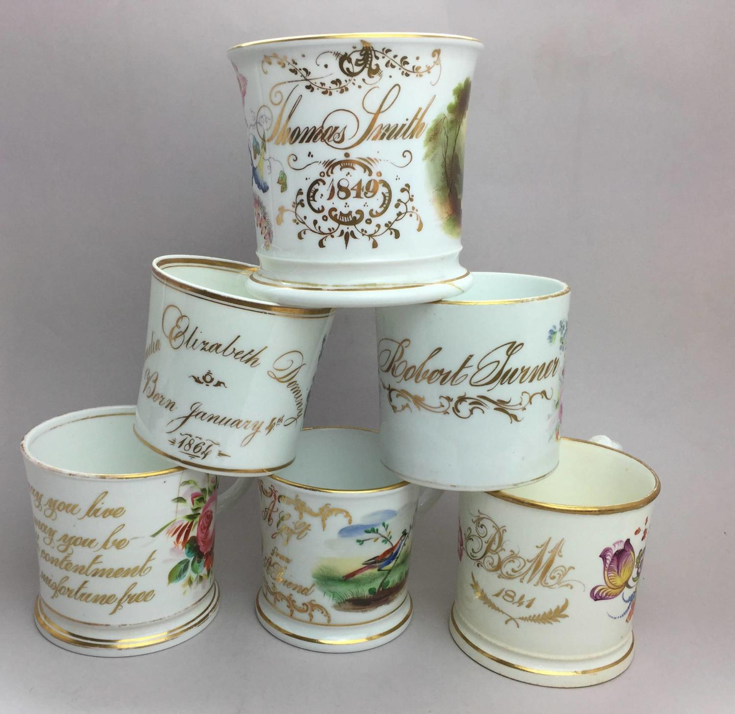Collection of Victorian Porcelain Christening & Friendship Mugs