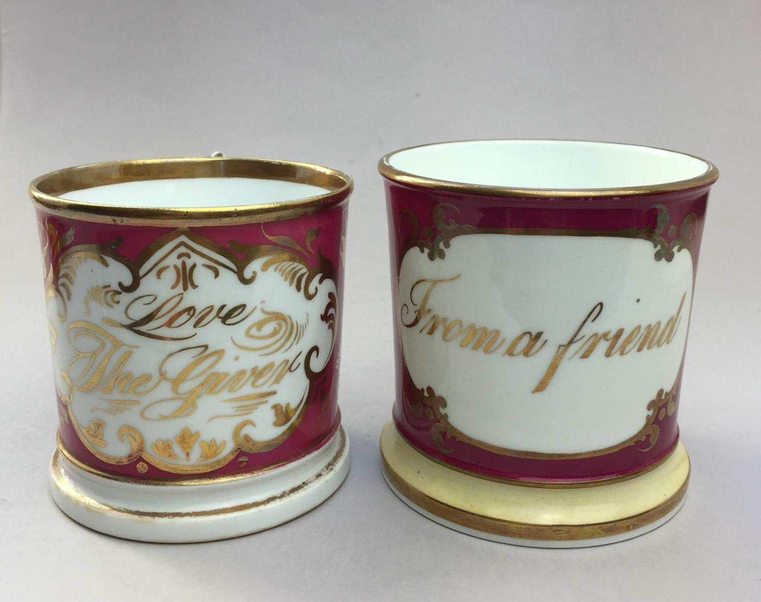 Victorian Staffordshire Porcelain Friendship Mugs