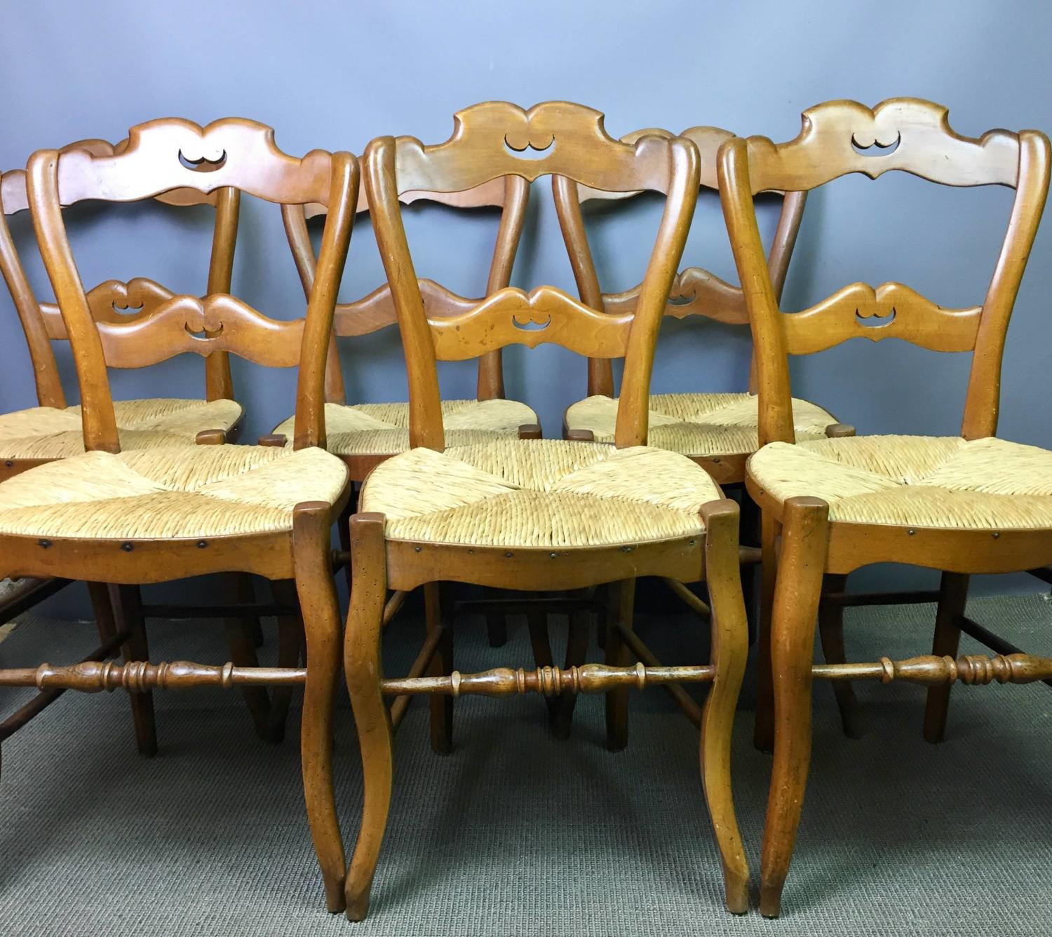 Vintage French Rush Seated Country Chairs