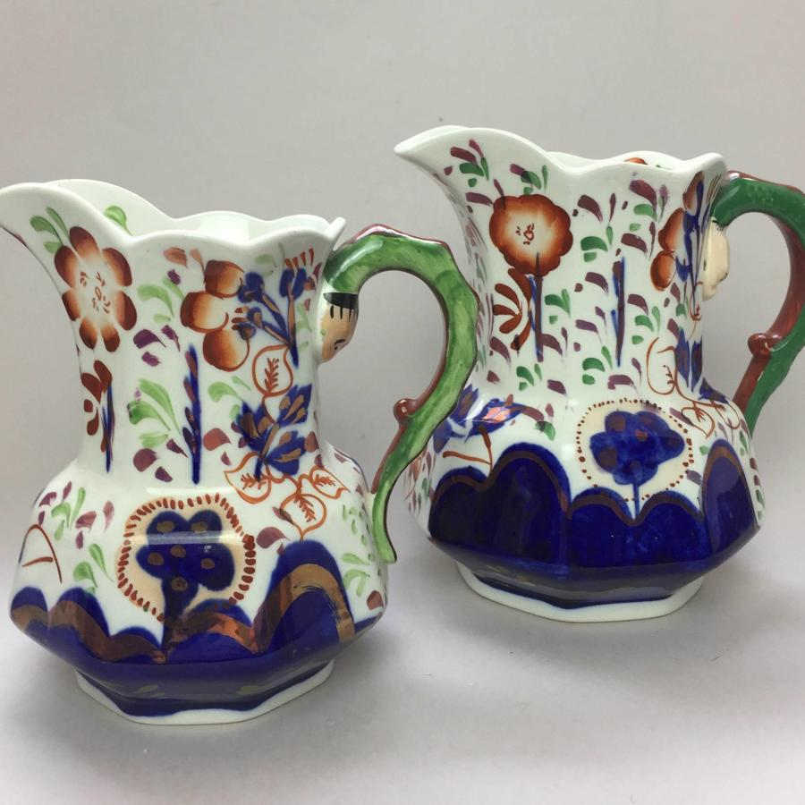 Two Allertons 'Gaudy Welsh' Snake Handled Jugs