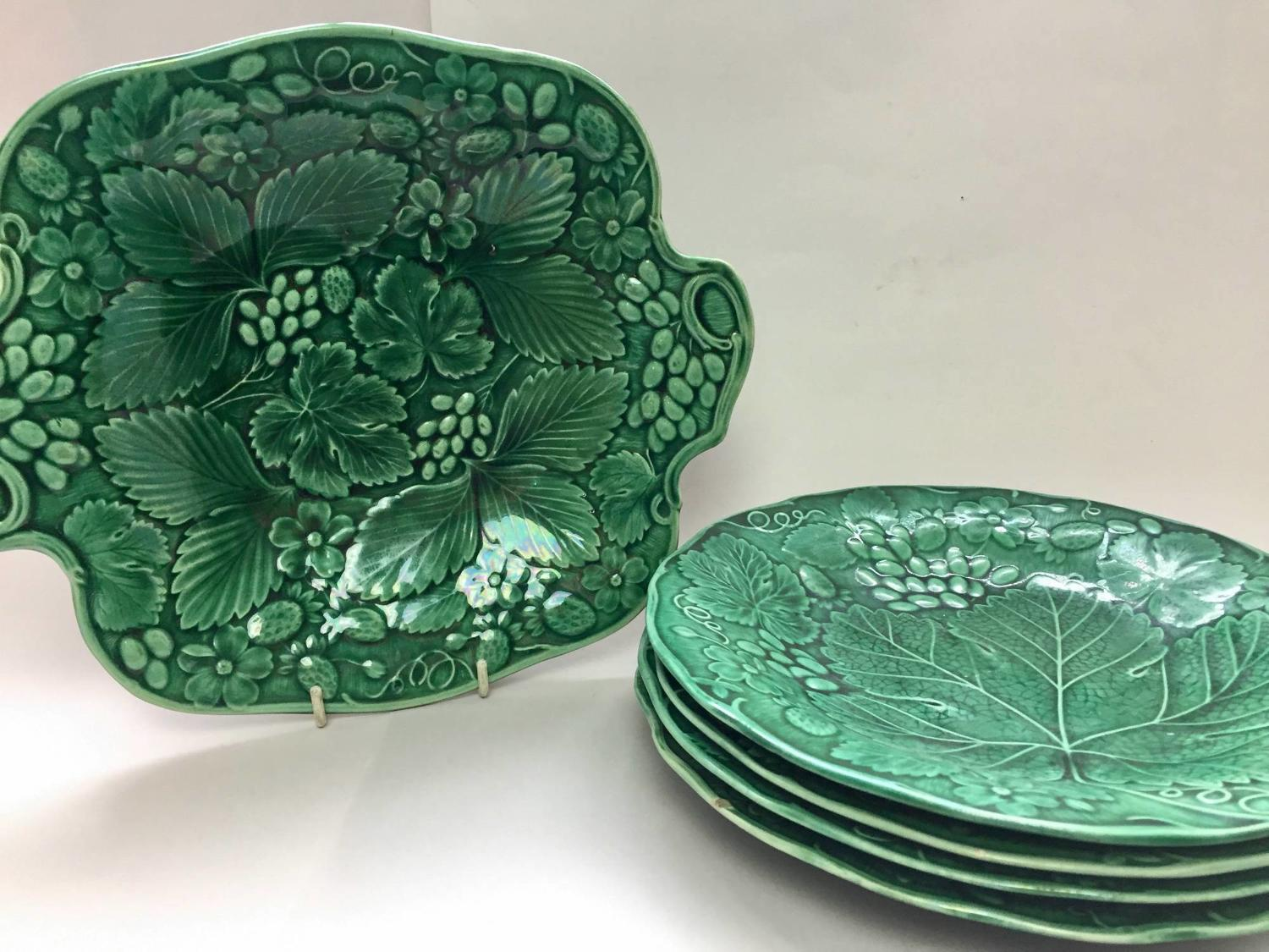 Victorian Green Majolica Plates & Comport in Strawberry Pattern
