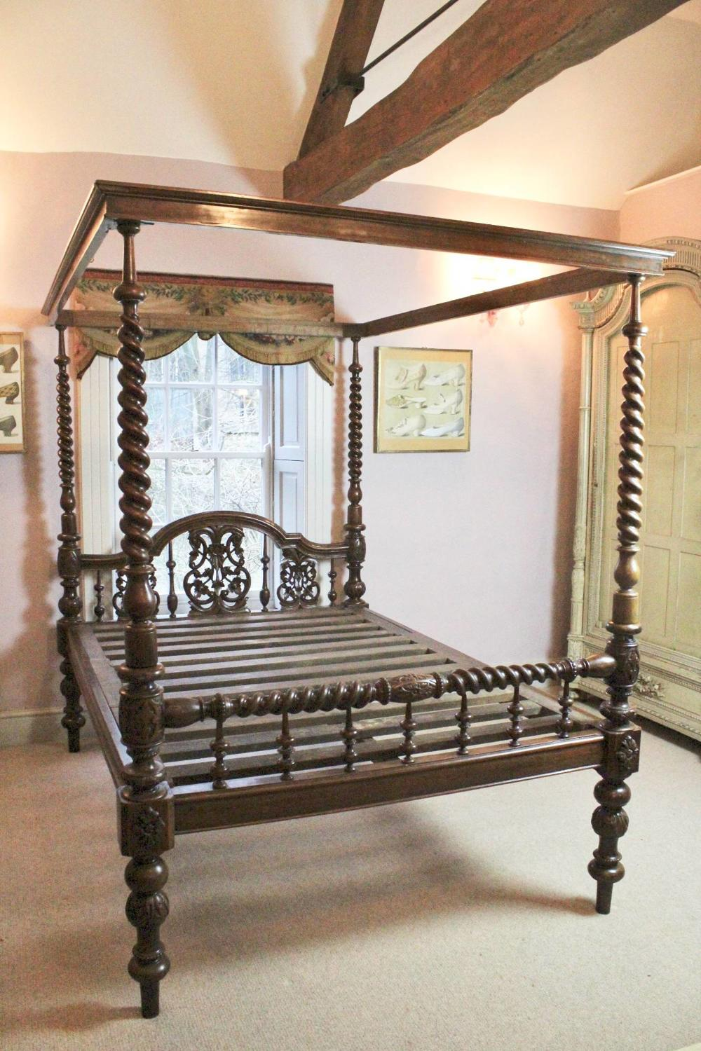 Antique Portuguese Colonial Four Poster Double Bed