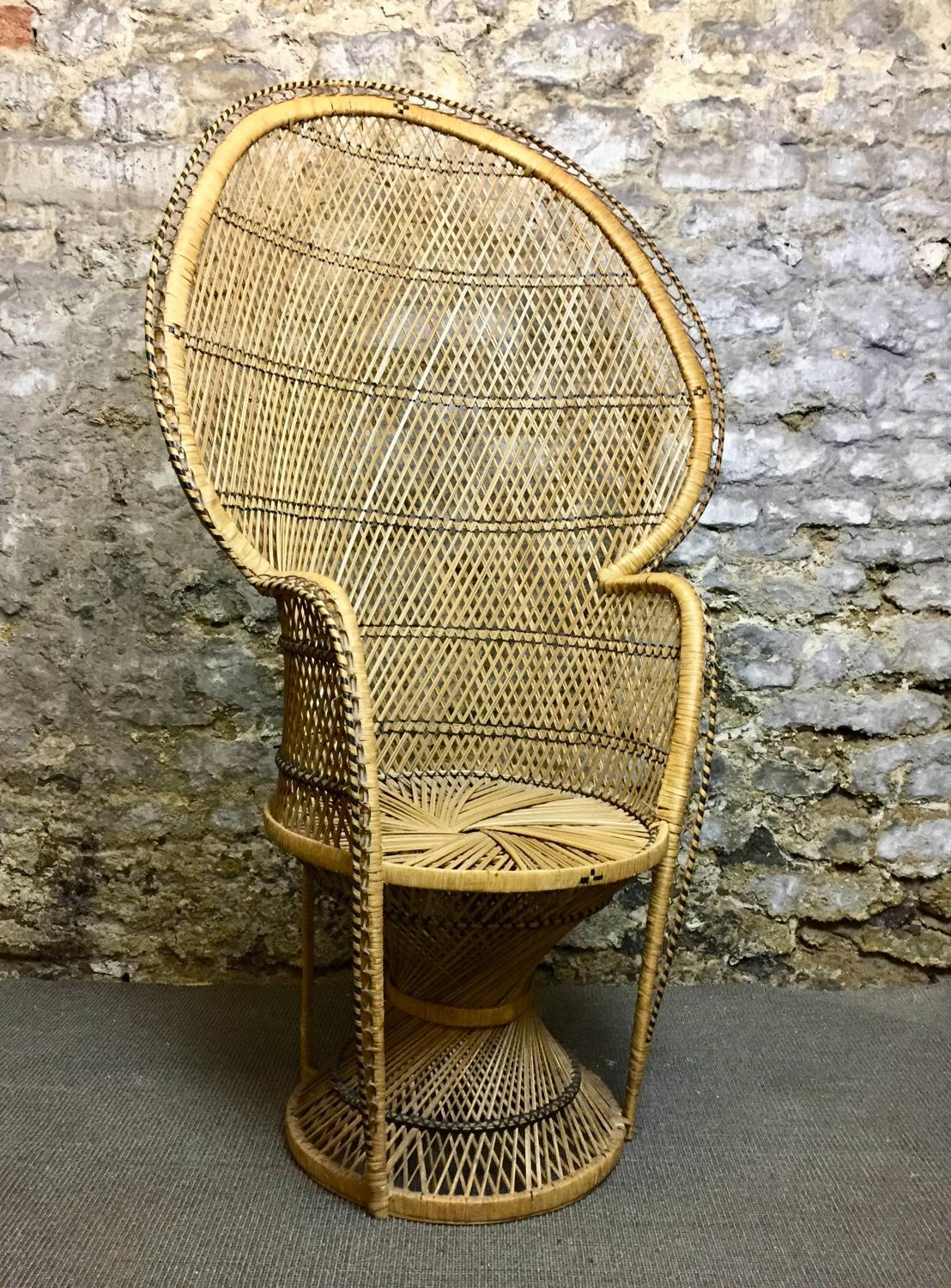 Vintage 1970's Rattan Peacock Chair