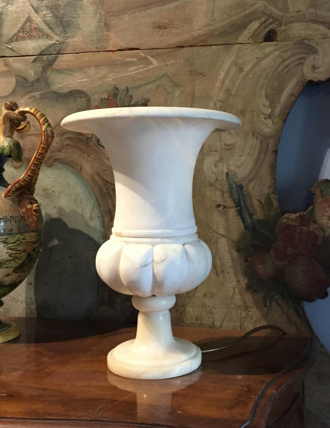 French Alabaster Campana Urn Table Lamp