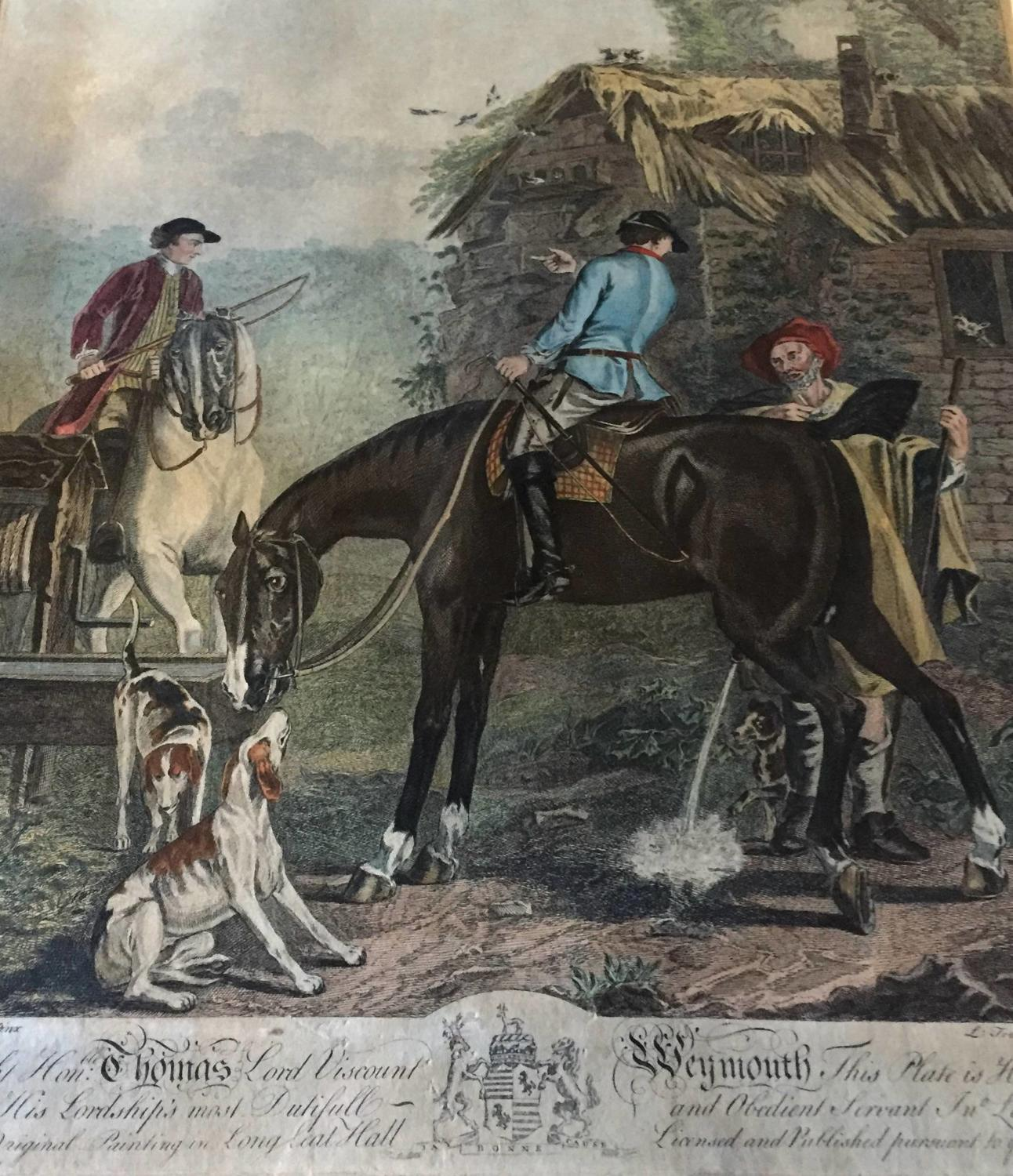 18th Century Engraving of Viscount Weymouth's Hunt