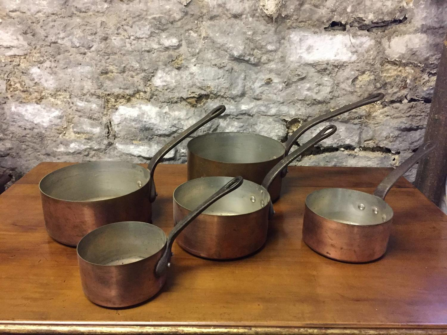 Set of Five Vintage French Copper Saucepans