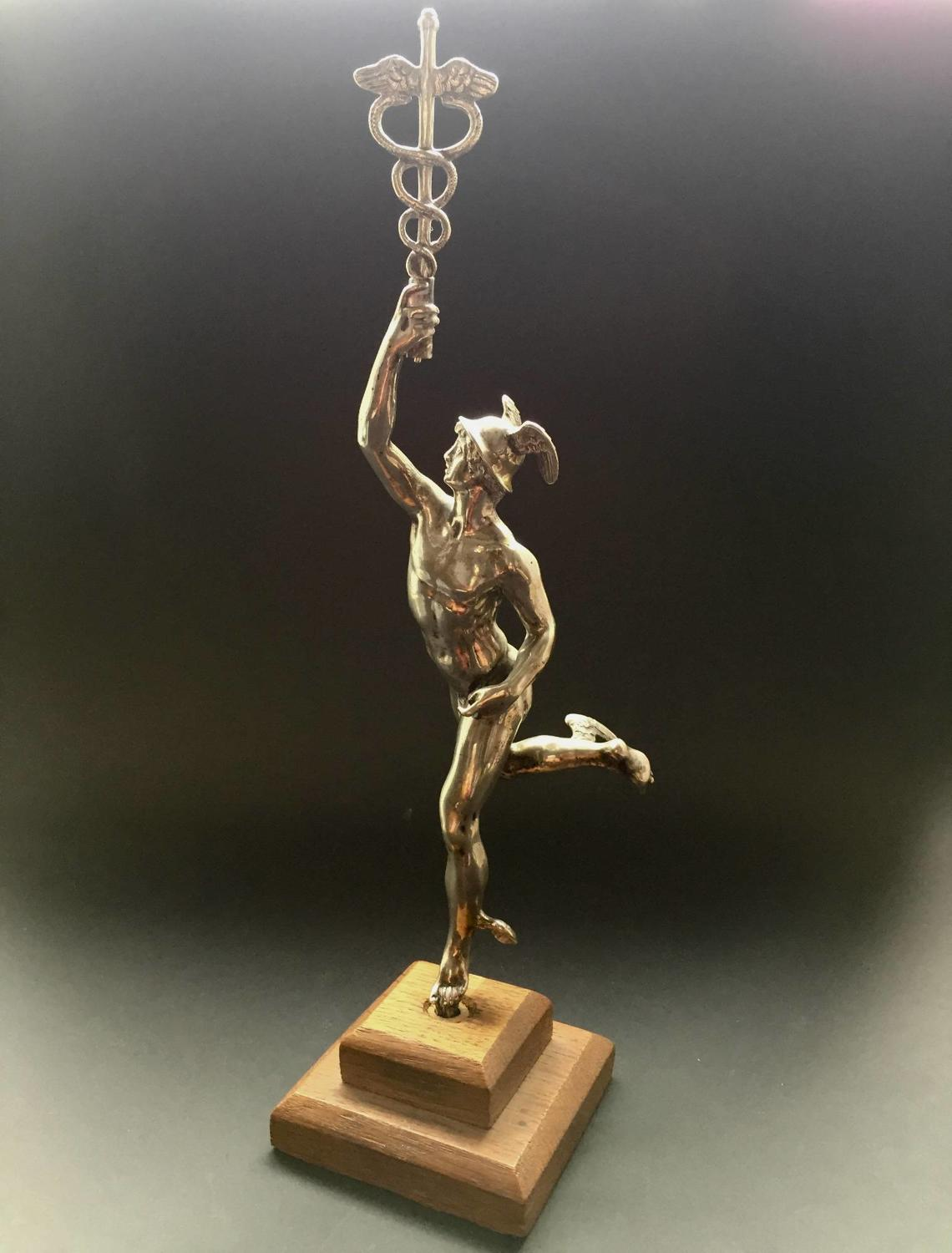 Silver Plated Grand Tour Figure of Mercury After the Antique