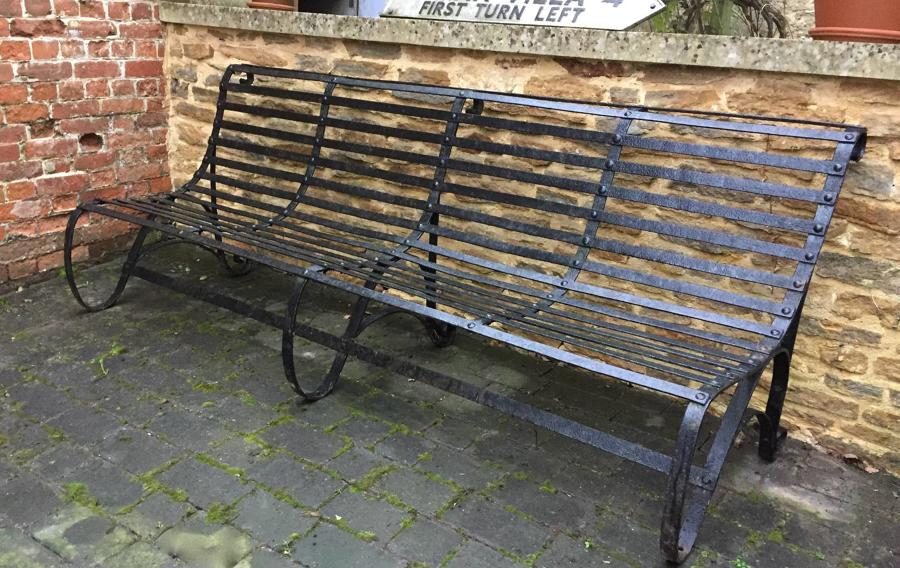 Large Victorian Wrought Iron Garden Bench