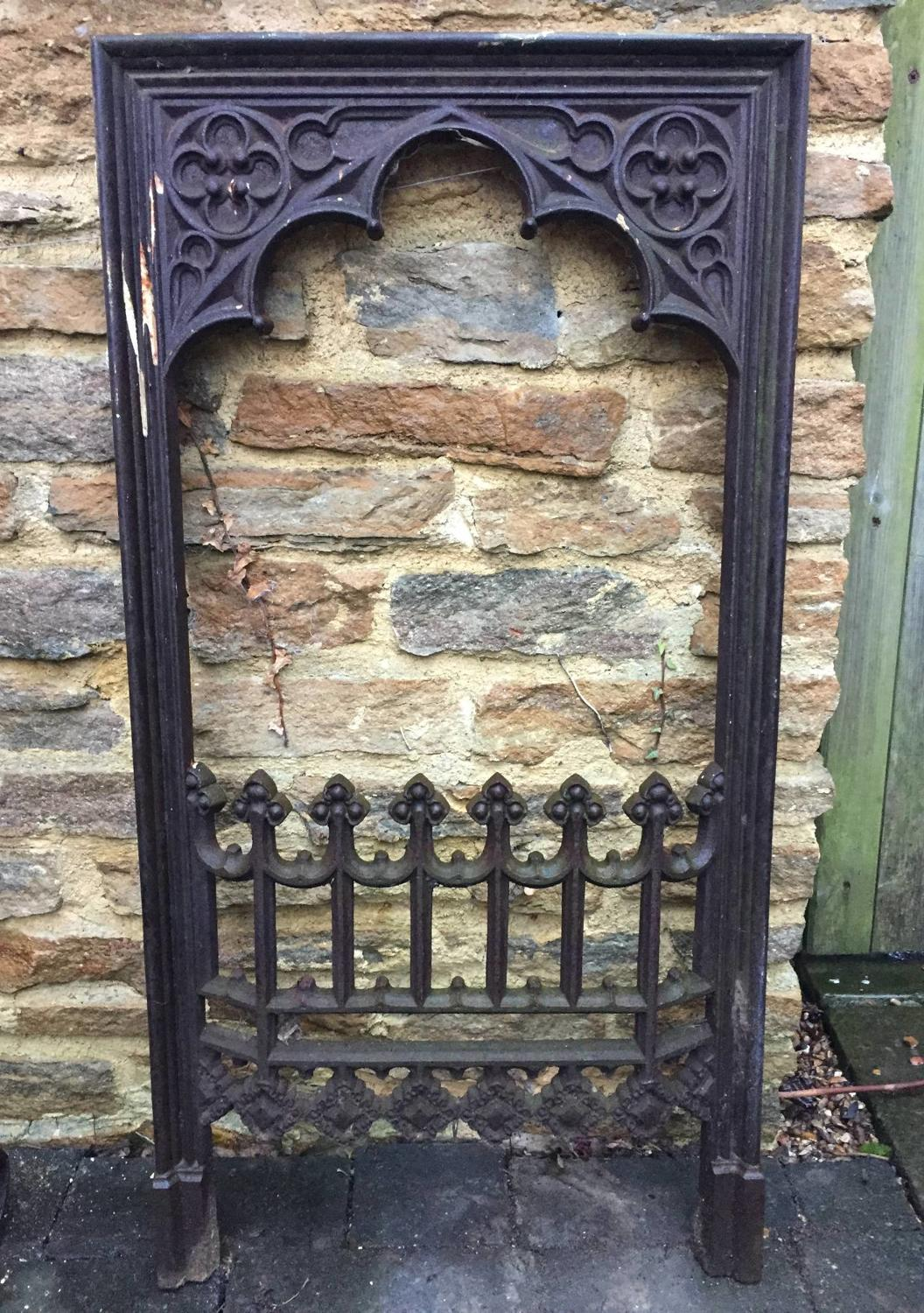 Victorian Cast Iron Gothic Firegrate Front