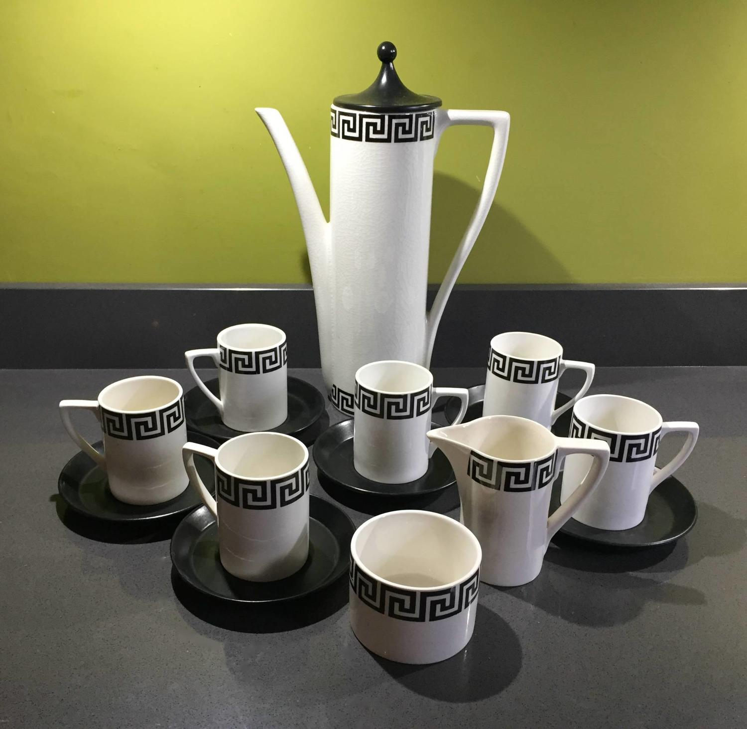 Portmeirion Black & White Greek Key Pattern Coffee Service