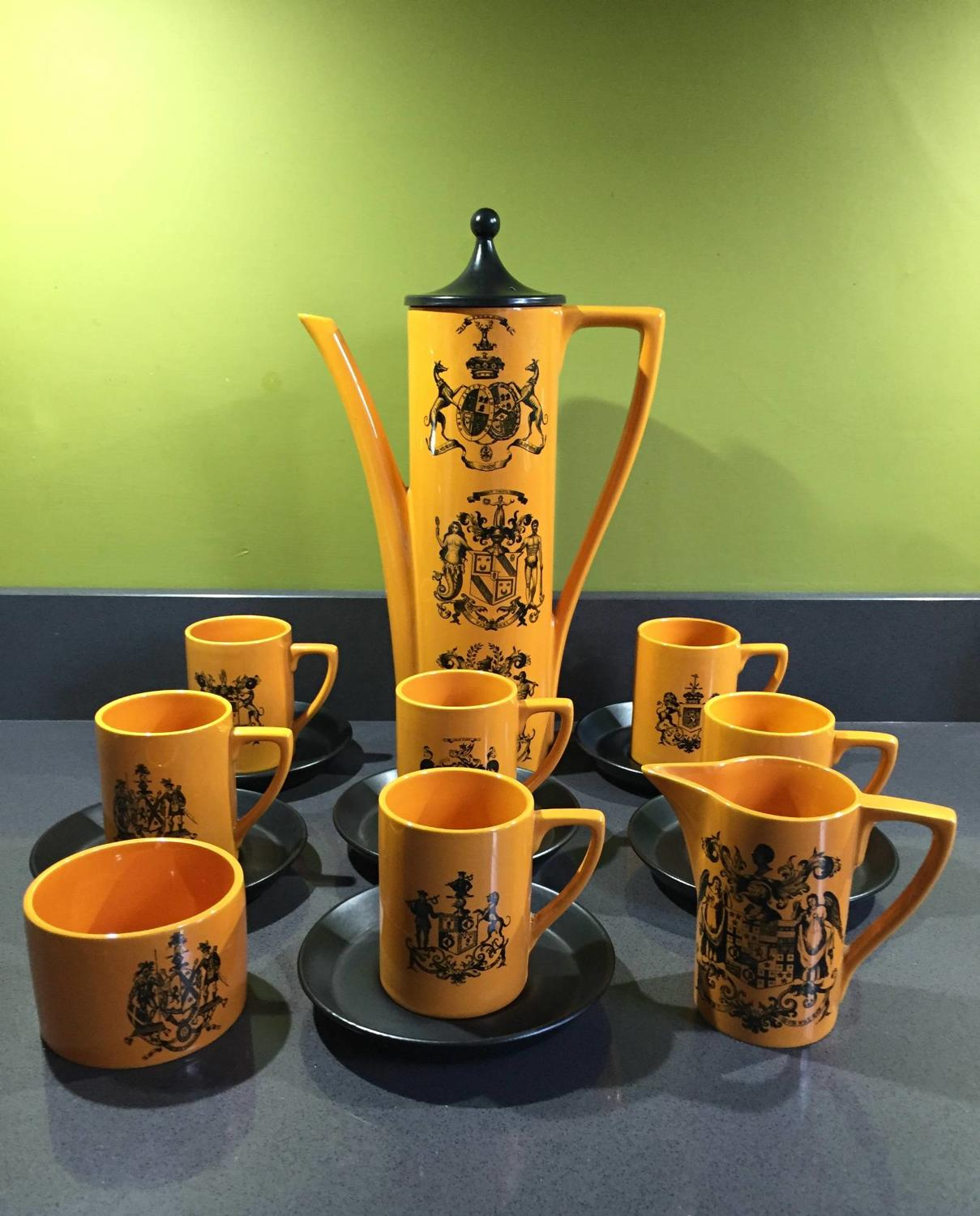 Portmeirion Orange British Herald Coffee Service