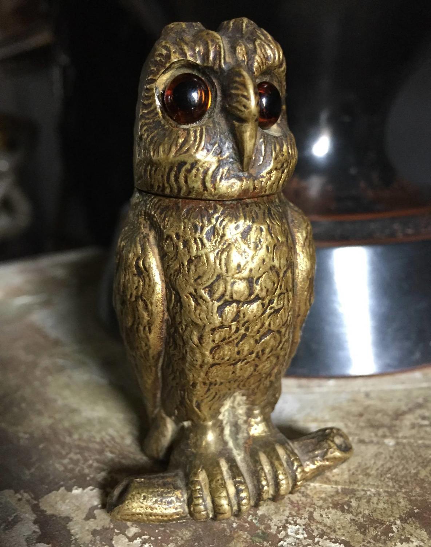 Antique Gilt Bronze Owl Inkwell