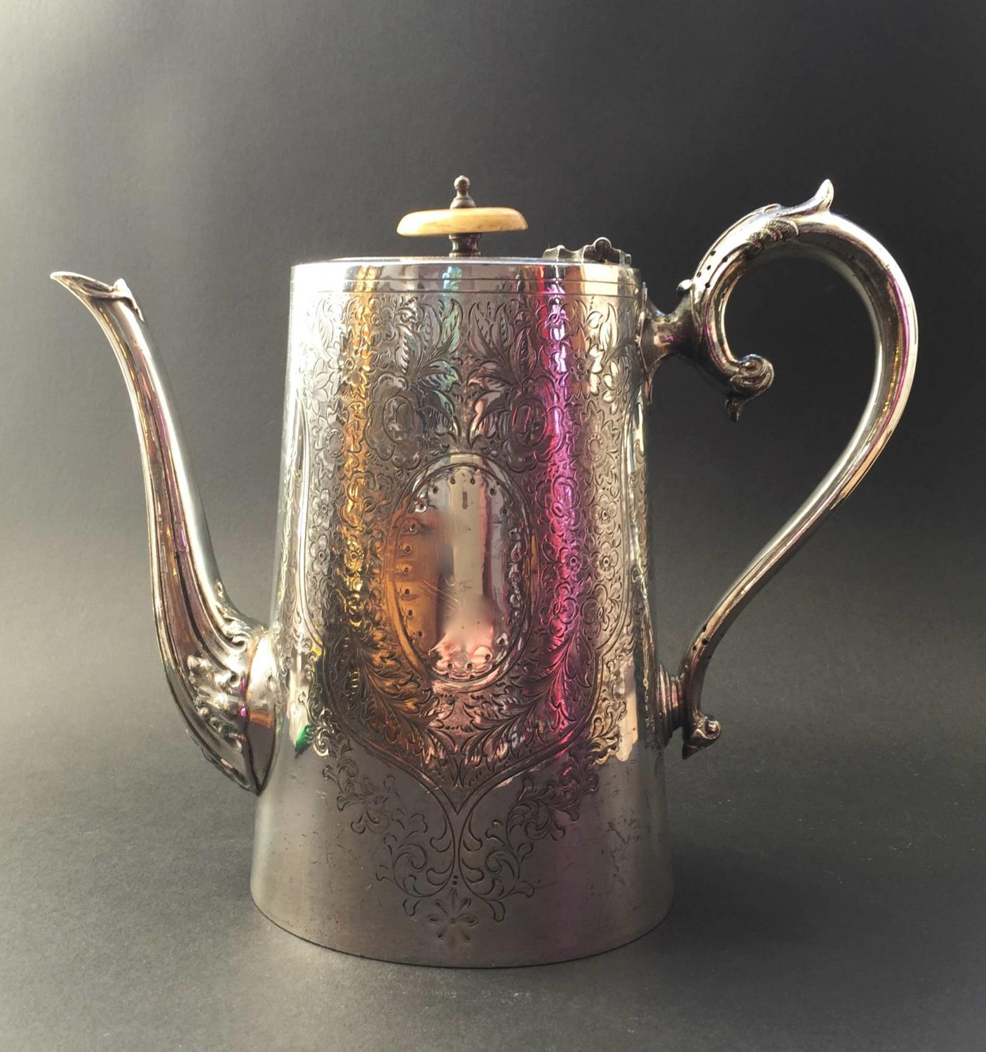 Victorian Silver Plated Engraved Coffee Pot