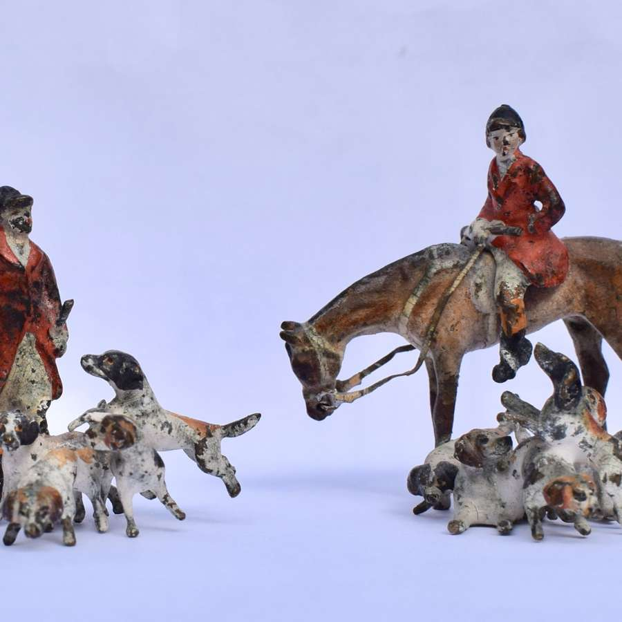 Two Austrian Cold Painted Bronze Hunting Groups in the manner of Bergm