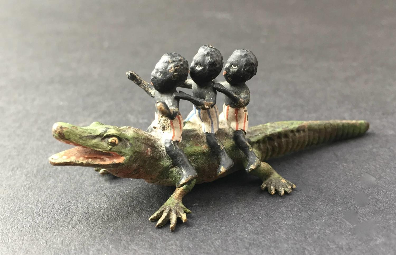 Austrian Cold Painted Group of Black Boys & Crocodile