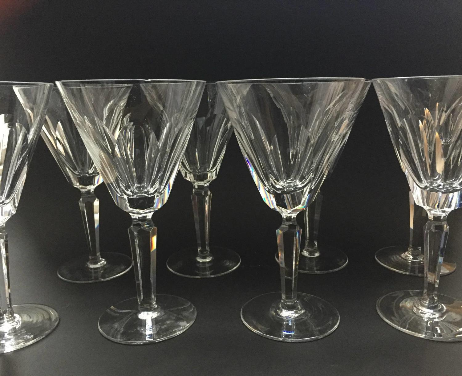 Eight Waterford 'Sheila' Pattern Cut Wine Glasses
