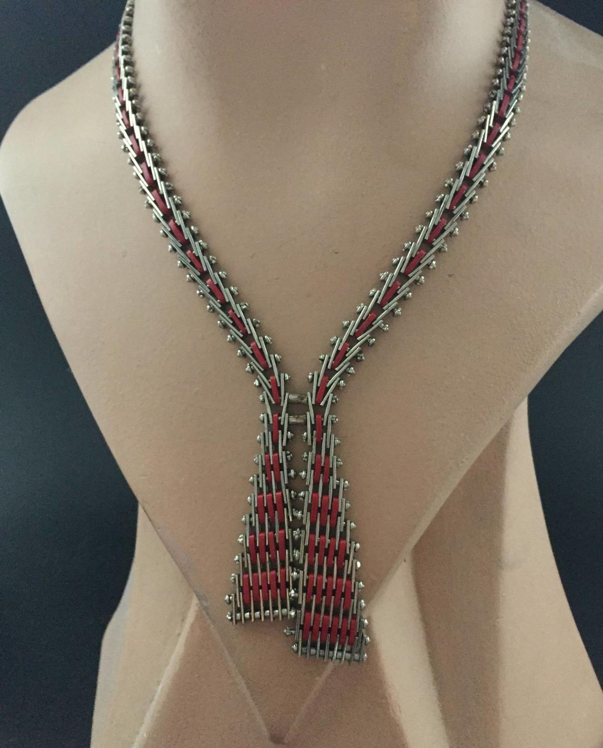 Art Deco Articulated Enamelled Necklace