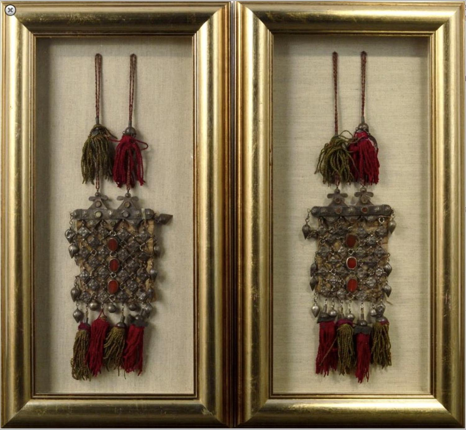 Large Pair of Framed Turkman Silver Necklaces