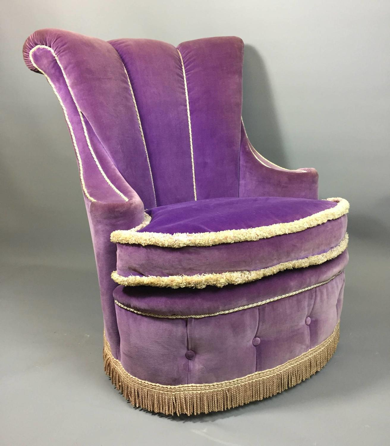 Purple Velvet Boudoir Chair