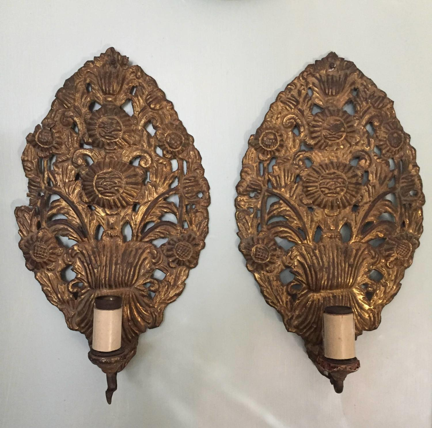 Pair of Spanish Gilt Brass Wall Sconces