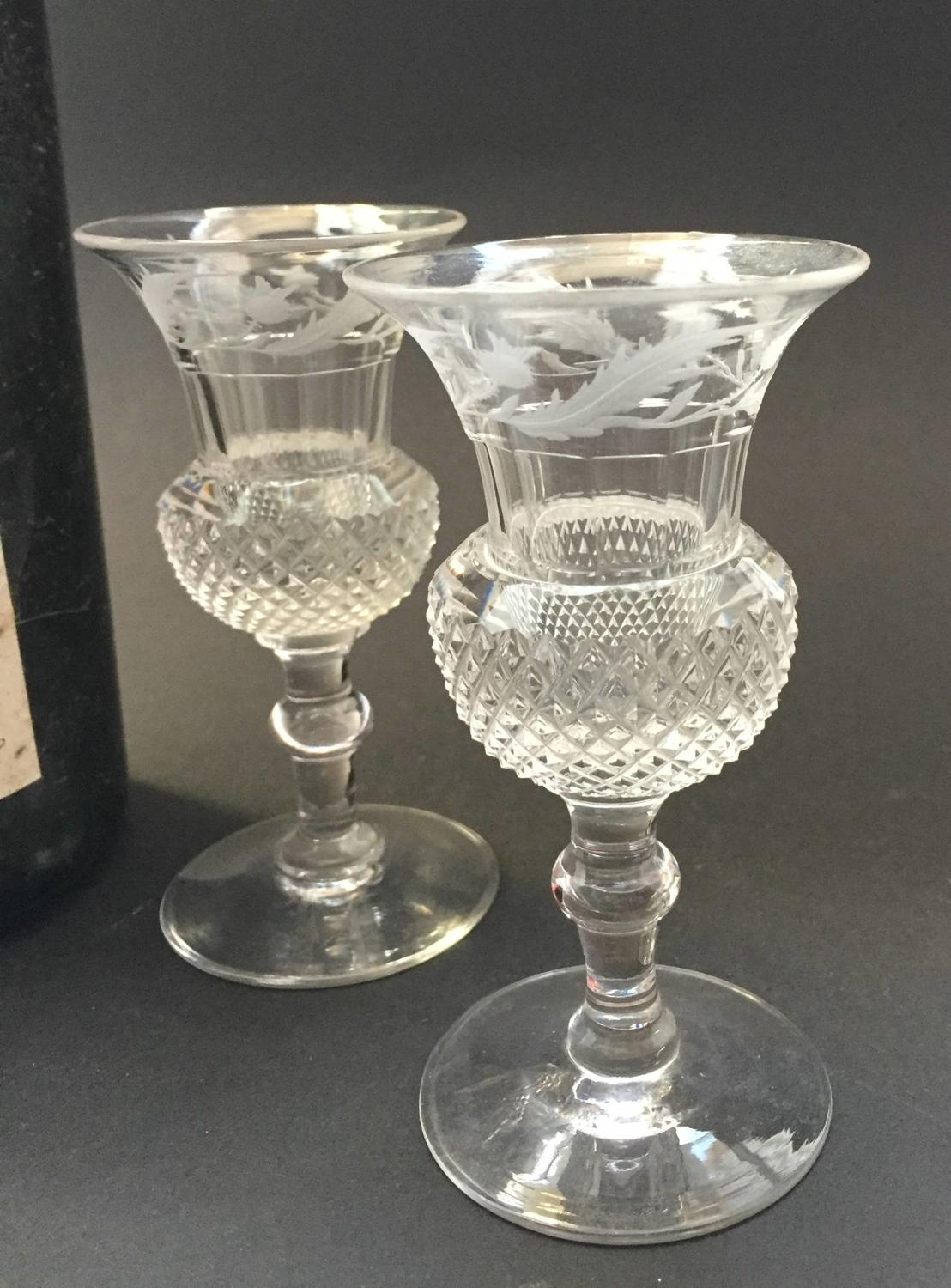 Pair of Thistle Shaped Cut & Engraved Port Glasses