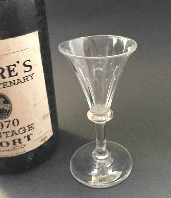 Georgian Cut Glass Port or Sherry Glass