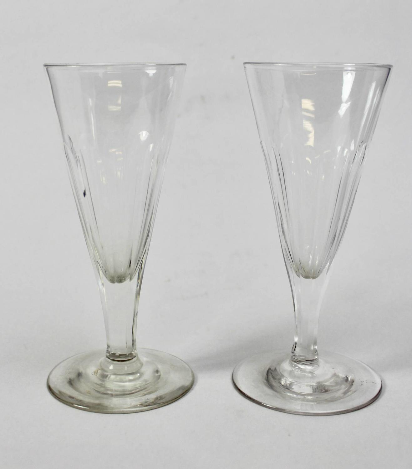 A pair of Antique Cut Glass Champagne Flutes