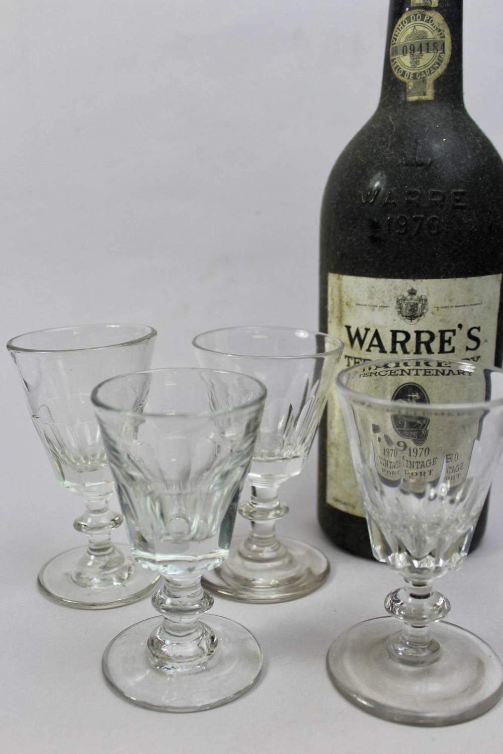 Four Antique Cut Glass Port or Sherry Glasses